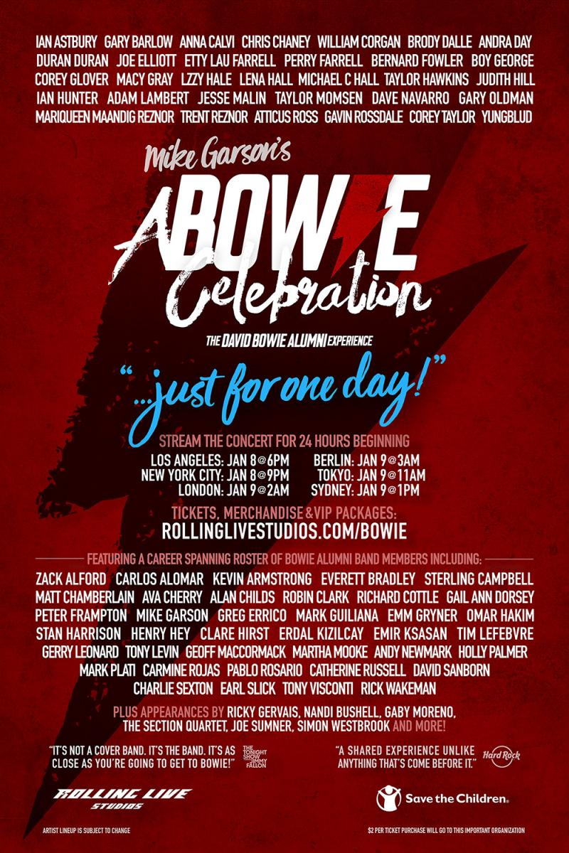 David Bowie Birthday Celebration new names including Boy George, Ricky Gervais & Taylor Hawkins...